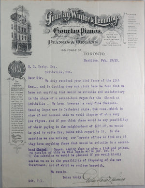 1910 illustrated letter from Gourlay Pianos, Hamilton Ontario