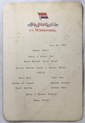 1910 menu card for S.S. Minnetonka transatlantic trip
