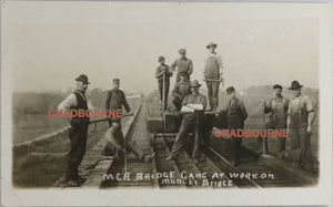 1910 photo postcard MCR railway bridge work crew, Melbourne SW Ontario