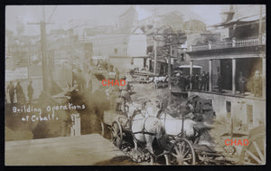 @1910 photo postcard, building construction Cobalt Canada