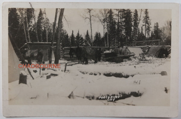 1910 photo postcard log cabins Porcupine, mining town Northern Ontario
