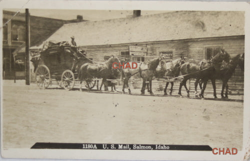 1910 photo postcard of U.S. Mail stagecoach Salmon Idaho
