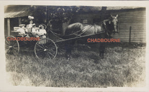 1910 photo postcard of mother and children, wagon drawn by 'Old Bobs'