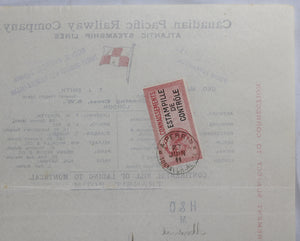 1911 Bill of lading Brandy - France to Montreal (CPR)