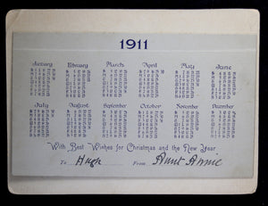 1911 Calendar with puppy and frog