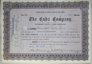 1911 Cuba Company share, signed by Sir William Cornelius Van Horne