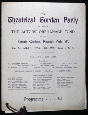 1911 London UK programme Garden Party - Actor's Orphanage Fund