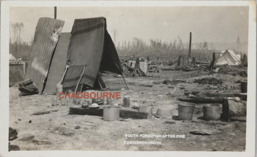 1911 RPPC photo postcard, aftermath Great Fire of Porcupine Ontario