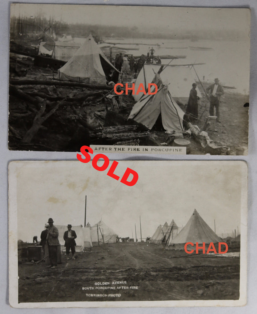 1911 RPPC photo postcards of Great Fire of Porcupine Ontario