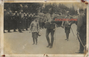 1911 photo postcard Tsar Nicholas II and son, military parade Peterhof