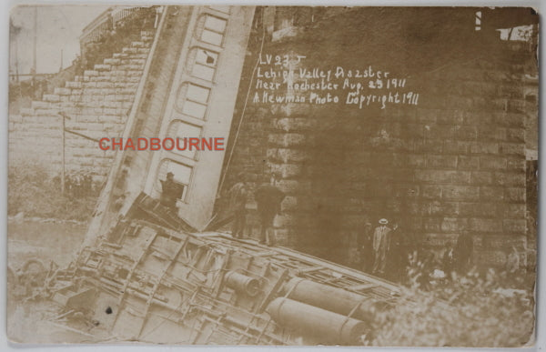 1911 photo postcard of Leigh Valley RR train disaster, near Rochester NY
