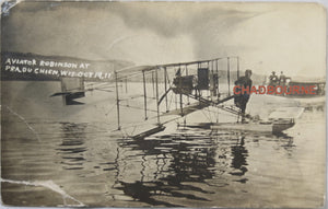 1911 photo postcard of a Curtiss Hydro-Airplane, Prairie du Chien WI