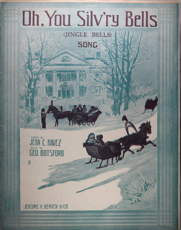 1912 American sheet music 'Oh You Silv'ry Bells' winter scene