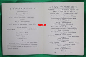 1912 Dinner Menu for RMS Victorian – Allen Line