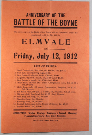 "1912 Orange Order commemoration ""Battle of the Boyne' Elmvale Ontario"