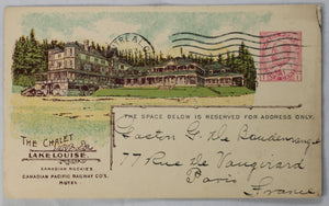 1913 CPR shareholder postcard with image of The Chalet Lake Louise