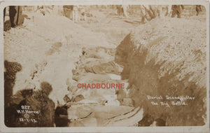 1913 W.H. Horne photo postcard, burial of dead - Mexican Revolution