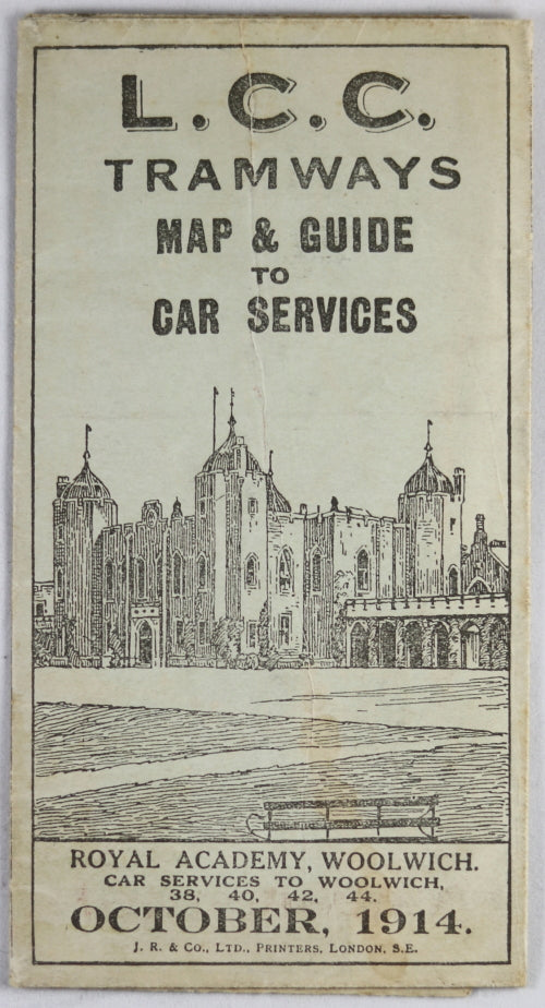 1914 London (UK) L.C.C. Tramways Map & Guide to Car Services
