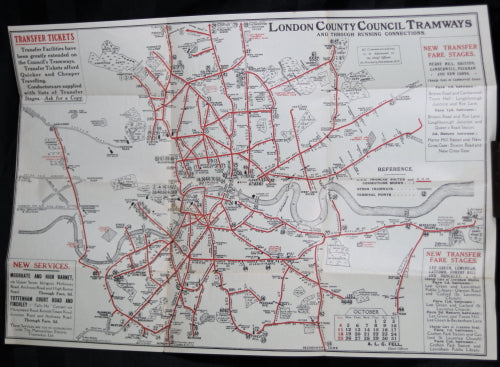 London Map Guide.1914 London Uk L C C Tramways Map Guide To Car Services