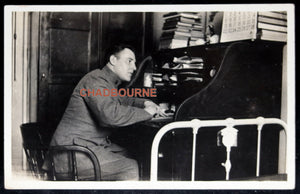 1914 photo postcard soldier working at his desk, Fort Totten N.Y.