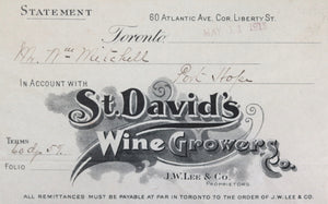 1915 statement from St. David's Wine Growers, Toronto Ontario
