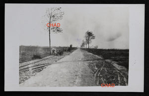 @1916 WW1 RPPC German photo road from Ypres to Zonnebeke