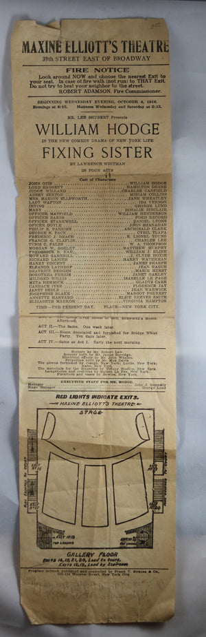 1916 vintage playbill for Maxine Elliott's Theatre NYC