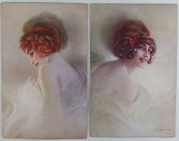 1916 set of four women's fashion postcards illustrated by Guerzoni