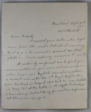 1917 letter to R.F.C. pilot Leaside Camp Toronto #1
