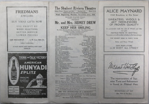 1918 printed program for Schubert Riviera Theatre NYC