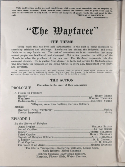 1919-20 programmes for 'The Wayfarer' at Madison Square Garden NYC