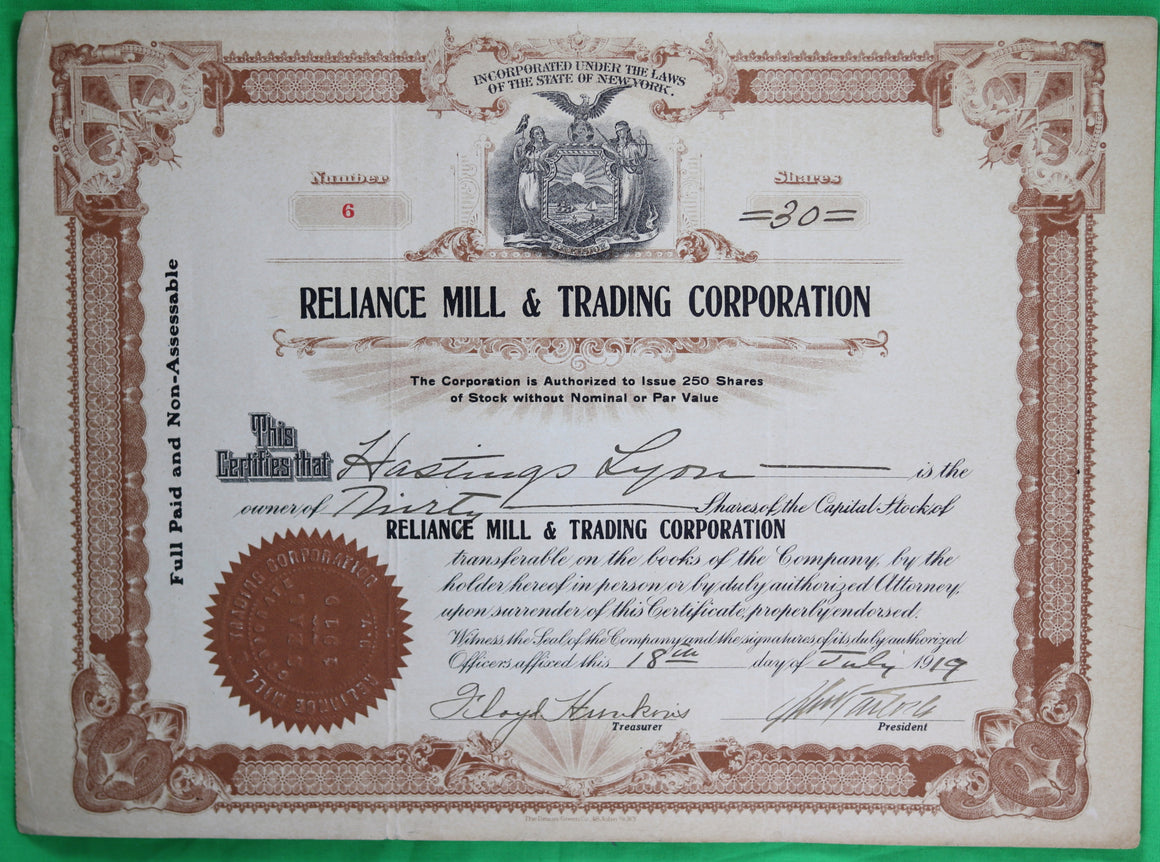 1919 Reliance Mill & Trading Corp. stock certificate