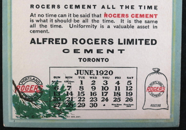 1920 calendar card mountain view, ad for Rogers Cement Toronto Canada