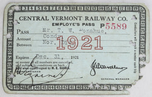 1921 Central Vermont Railway employee pass