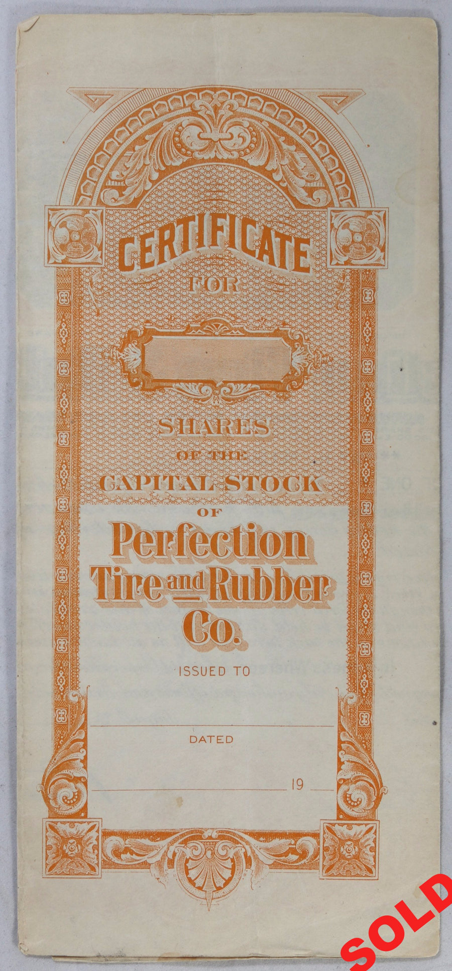 1921 Perfection Tire & Rubber Co. stock certificate (USA)