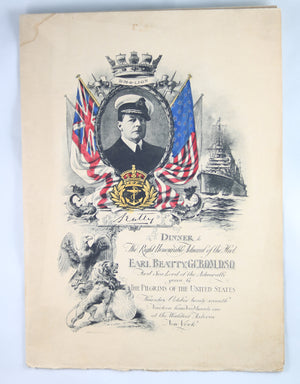 1921 menu for Right Honorable Admiral of the Fleet Beatty NYC