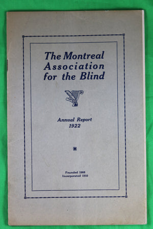 1922 Annual Report – Montreal Association for the Blind