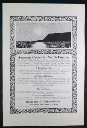 1922 advertising Summer Cruise to North Europe by Raymond-Whitcomb Boston
