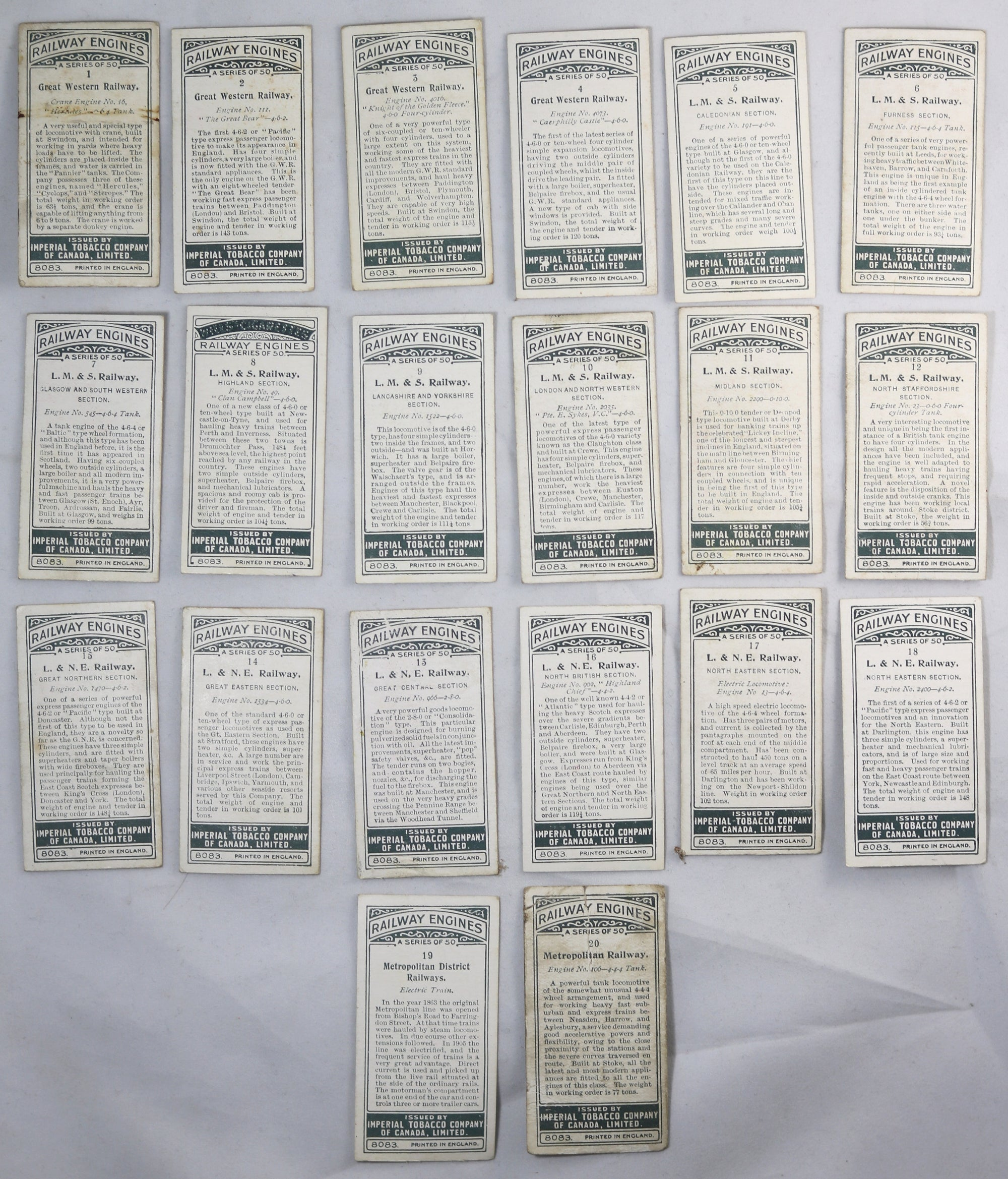 1923 Imperial Tobacco full set C30 'Railway Engines' cards