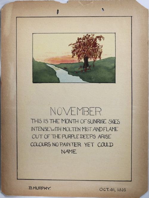 1923 three homemade calendar pages, each with watercolour illustration