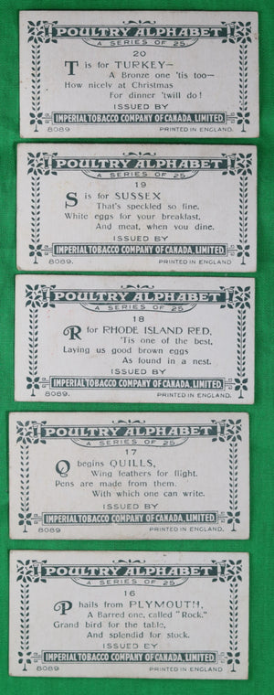 1924 Imperial Tobacco cards, complete set #C38 'Poultry Alphabet