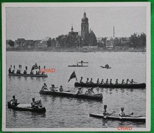 @1930s photo of Canadian 10-man canoe team at German regatta