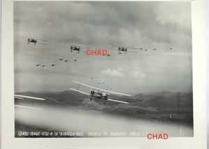 1932 photo of US biplanes flying in review, Albrook Field C.Z.