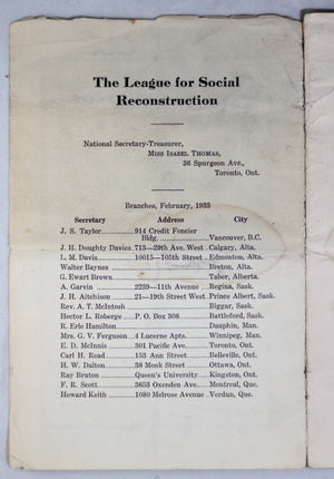 1933 Handbook of The League for Social Reconstruction (Canada)