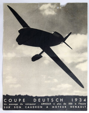 1934 publicite pour le gagnant de la Coupe Deutsch d'aviation