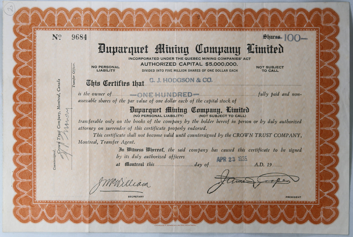 1935 stock certificate Duparquet Mining Co. QC Canada