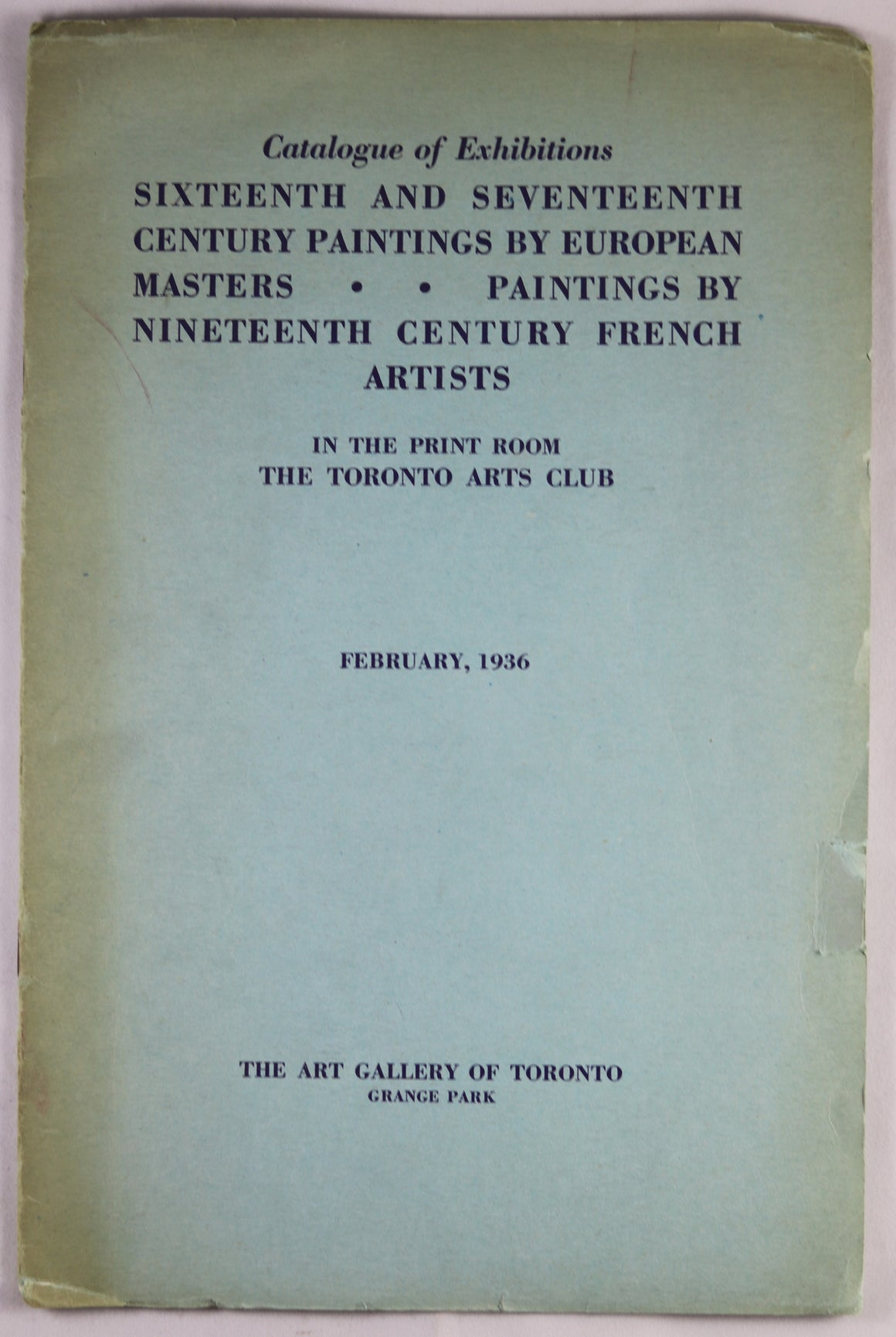 1936 Catalogue of Exhibitions AGO Print Room - Toronto Arts Club