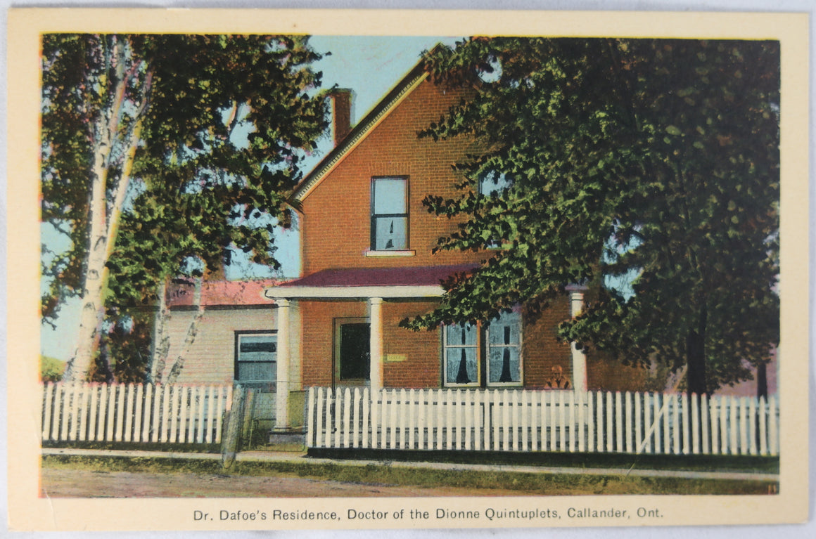 1937 postcard Dionne Quints' Doctor's house Callander Ont.