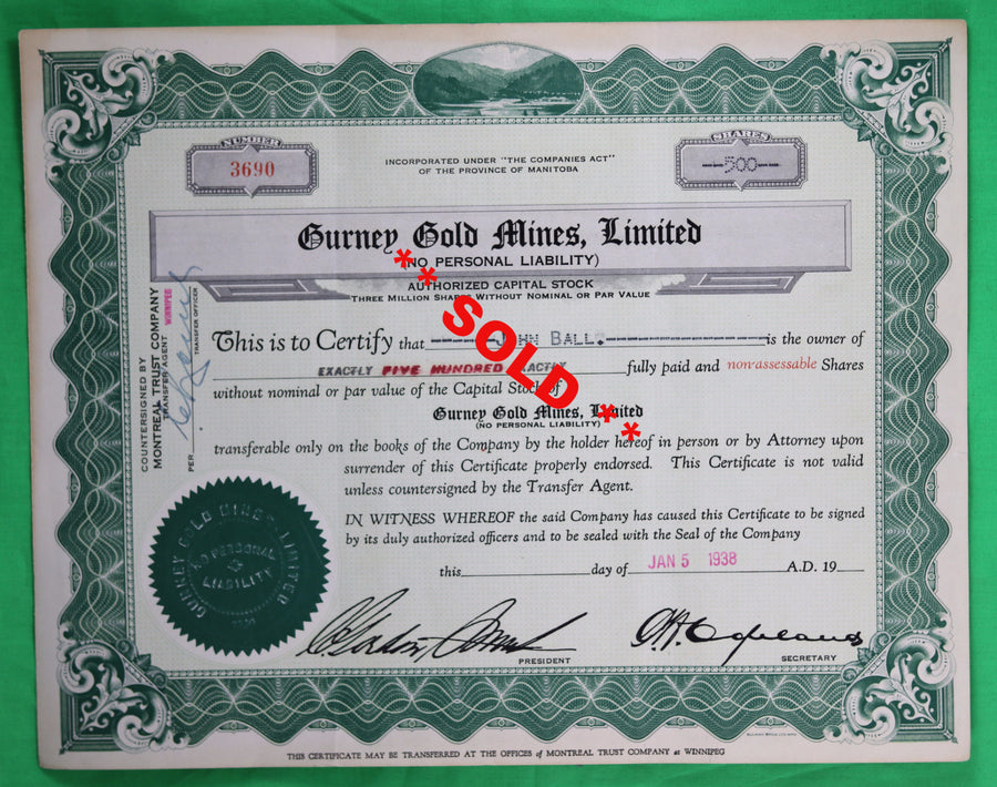 1938 Gurney Gold Mines stock certificate
