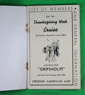 1938 Caribbean cruise Swedish American Line 'S.S. Gripsholm'